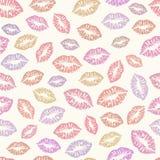 Buziaka tła bezszwowy wzór Ślada pomadka, wargi, romantyczna tekstura Obraz Stock