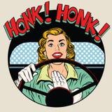 Buzinar a mulher do motorista do chifre do veículo Fotos de Stock