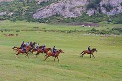 Buzkashi在吉尔吉斯斯坦 免版税库存照片