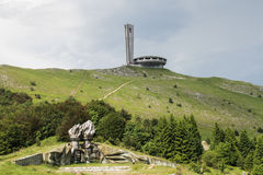 Buzludzha Momument. MOUNT BUZLUDZHA, BULGARIA, June 12, 2016: The Buzludzha communist monument, who once served as the House of the Bulgarian Communist Party Stock Photos