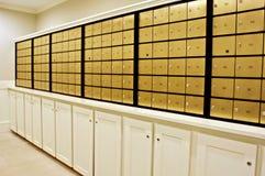 Buzones de cobre amarillo Imagen de archivo libre de regalías