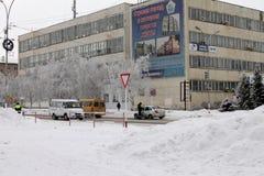 Buzuluk, Россия - 15-ое февраля 2015: Полиция патрулируя roadw Стоковое Изображение