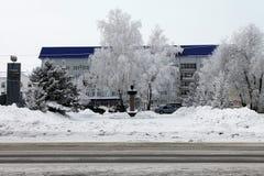 Buzuluk, Rusland - Februari 15, 2015: het monument in stadsce Stock Afbeelding