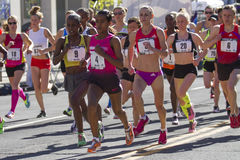 Buzunesh Deba from Ethiopia leads the women's Elite division at the Lilac Bloomsday 2013 12k Run in Spokane WA Royalty Free Stock Image