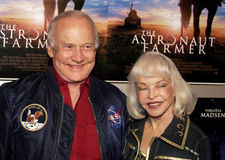 Buzz Aldrin and Lois Aldrin. Buzz Aldrin and wife Lois attend the Los Angeles Premiere of The Astronaut Farmer held at the Cinerama Dome in Hollywood, California royalty free stock image