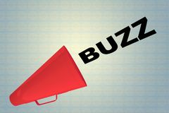 BUZZ - communication concept. 3D illustration of BUZZ title flowing from a loudspeaker Stock Photos