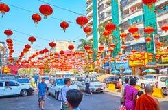 Buzz and fuss of Yangon, Myanmar stock photography