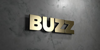 Buzz - Gold sign mounted on glossy marble wall  - 3D rendered royalty free stock illustration. This image can be used for an online website banner ad or a Stock Photography