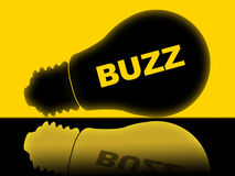 Buzz Lightbulb Indicates Popularity Publicity And Visibility. Buzz Lightbulb Showing Public Relations And Attention Stock Photo