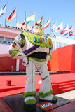 Buzz lightyear. On the Venice Film Festival's red carpet were inflated tons of balloons and some cartoon characters were built with Lego to mark the lifetime stock image