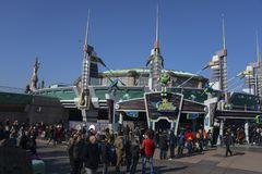 Buzz Lightyear Laser Blast in the Discoveryland area. FRANCE, PARIS - February 29, 2016 - Entrance to the attraction of Buzz Lightyear Laser Blast in the royalty free stock photo