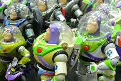 Buzz Lightyear the Space Ranger superhero fictional action figure stock images