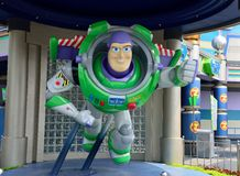 Buzz Lightyear Statue, Disney Cartoon Character. Buzz Lightyear statue in Hong Kong Disneyland Park. He is a fictional character in the Toy Story franchise Royalty Free Stock Images