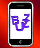 Buzz On Phone Showing Awareness Exposure Stock Photos