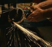 Buzz saw. A buzz saw with sparks stock photo