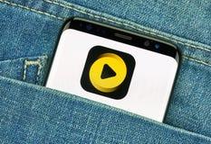 Buzz vide mobile app on Samsung s8. MONTREAL, CANADA - December 23, 2018: Buzz video android app on Samsung s8 screen, topbuzz, buzzvideo, application stock image