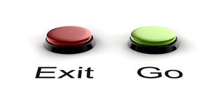 Buzzer. A green and red buzzer button for exit and go Royalty Free Stock Images