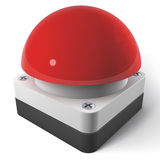 Buzzer, Alarm Button. Red Gameshow Buzzer, 3d rendering isolated on white background Royalty Free Stock Photo
