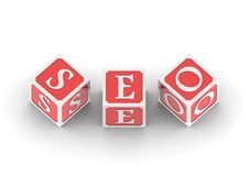 Buzzword SEO. Rendered 3D artwork with white background royalty free illustration