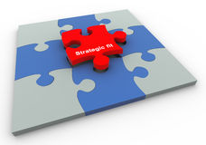 Buzzword strategic fit. 3d completed puzzle with final puzzle piece of text 'strategic fit Stock Image