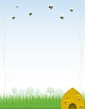 Buzzy Beehive Background/Stationery. Background or stationary with skep-style, golden beehive dripping with honey, with bees of various sizes working and flying Stock Photo