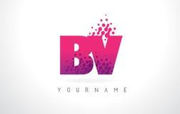 BV B.V.与桃红色紫色颜色和微粒小点Des的Letter Logo 免版税库存照片
