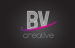 BV B.V.与线设计和紫色Swoosh的Letter Logo 库存图片