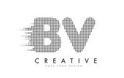 BV B.V.与黑小点和足迹的Letter Logo 库存图片