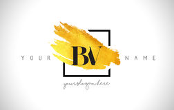 BV Golden Letter Logo Design with Creative Gold Brush Stroke vector illustration