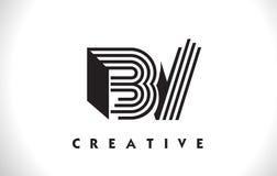 BV Logo Letter With Black Lines Design. Line Letter Vector Illus royalty free illustration