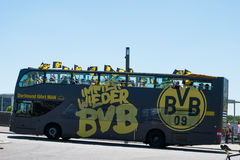 BVB Fans / Borussia Dortmund Fan Bus in Berlin Royalty Free Stock Photos