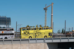 BVB Fans / Borussia Dortmund Fan Bus in Berlin Royalty Free Stock Images