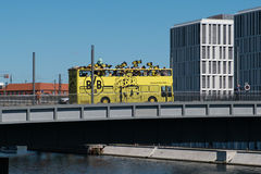 BVB Fans / Borussia Dortmund Fan Bus in Berlin Stock Photo