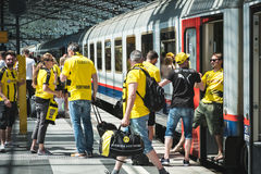 BVB Fans / Borussia Dortmund Fans arriving on train station Royalty Free Stock Photography