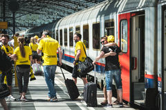 BVB Fans / Borussia Dortmund Fans arriving on train station Stock Photos
