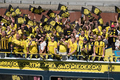 BVB Fans / Borussia Dortmund Fans on boat in Berlin Royalty Free Stock Photos