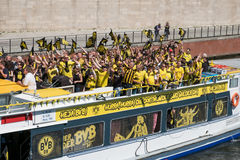 BVB Fans / Borussia Dortmund Fans on boat in Berlin Royalty Free Stock Photography