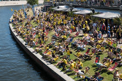 BVB Fans / Borussia Dortmund Fans at riverside in Berlin Stock Image