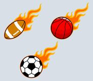 Flaming Sport Ball. BVector collection set of flaming sport ball Royalty Free Stock Images