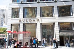 Bvlgari store. Windows in San Francisco Royalty Free Stock Image