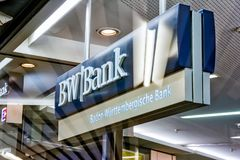 BW银行斯图加特主要火车站银行分行商标标志EU 库存照片