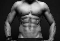 BW athletic man on black background Royalty Free Stock Photos