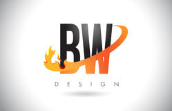 BW B W Letter Logo with Fire Flames Design and Orange Swoosh. Royalty Free Stock Photos