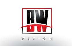 BW B W Logo Letters avec des couleurs et le bruissement rouges et noirs Photographie stock