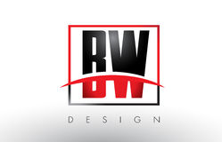 BW B W Logo Letters with Red and Black Colors and Swoosh. Stock Photography
