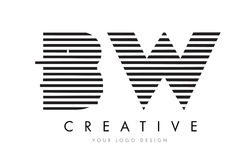 BW B W Zebra Letter Logo Design with Black and White Stripes Stock Image