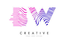 Free BW B W Zebra Lines Letter Logo Design With Magenta Colors Stock Image - 90841591