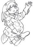 BW - Bambino di Manga con un costume dei pesci Immagine Stock