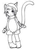 BW - Bambino di Manga con un costume del gatto Immagine Stock Libera da Diritti