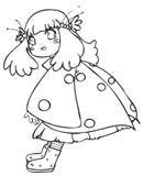 BW - Bambino di Manga con un costume del Ladybug Fotografie Stock Libere da Diritti